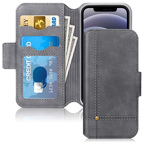 Skycase Compatible for iPhone 12 Mini Case 5G/Compatible for iPhone 12 Mini Wallet Case,Ultra Slim Handmade Flip Folio Wallet Case with Card Slots and Kickstand for iPhone 12 Mini 5.4 inch 2020,Grey
