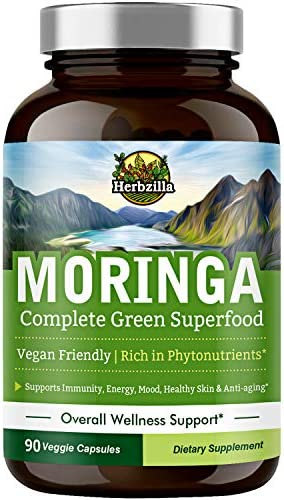 Organic Moringa Oleifera Leaf Powder Capsules 1200 mg Complete Green Superfood Non GMO No Gluten product image