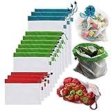 Produce Bolsa reutilizable Bolsa de asas reutilizable 12/15 PC Mesh producir bolsas de la cocina for guardar objetos y organización de vegetales comestibles almacenaje de las compras de frutas bolsa d