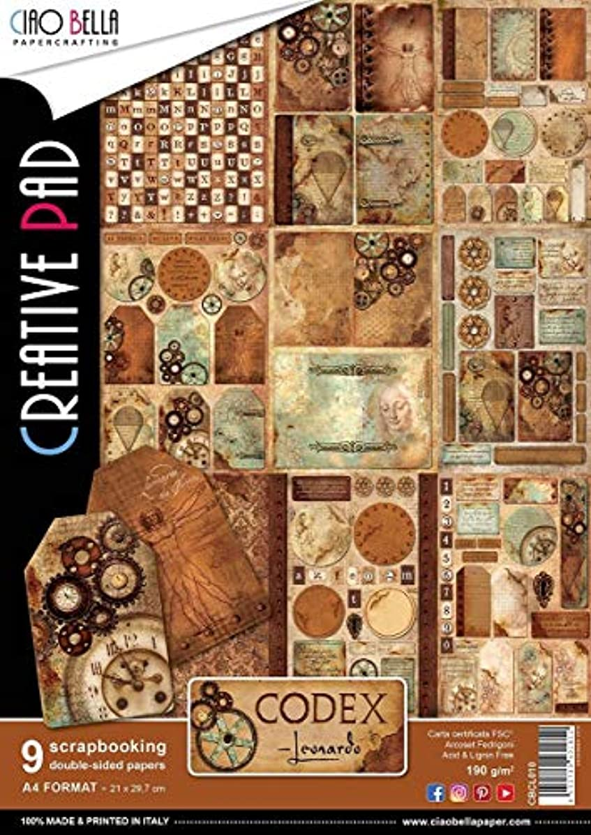 Ciao Bella CBCL010 Codex Leonardo Double-Sided Paper Pack A4 9/Pkg