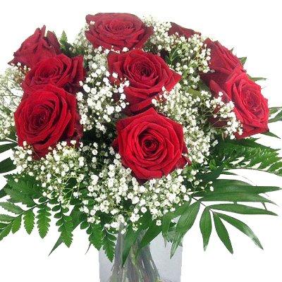 Blumenstrauß rote Rosen mit Schleierkraut und Schnittgrün - 10x XL Blüten Red Naomi