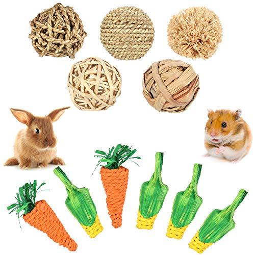 Phoetya 11 Stück Hamster Kauspielzeug Set, Spaß Interaktive Kugel Karotte Maisspielzeug Zahnpflege Spielzeug Meerschweinchen Zahnreinigung Spielzeug Kaninchen Kauen Biss Spielzeug für Kleintiere