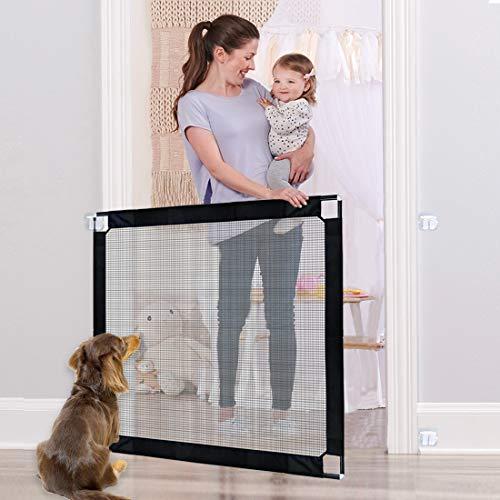 U-picks Dog Gate, cała metalowa rama do rur magiczna brama dla psów, zamykana bramka bezpieczeństwa dla dzieci, przenośna siatka izolacyjna dla psów do drzwi schodowych wewnątrz i na zewnątrz, 100 x 80 cm