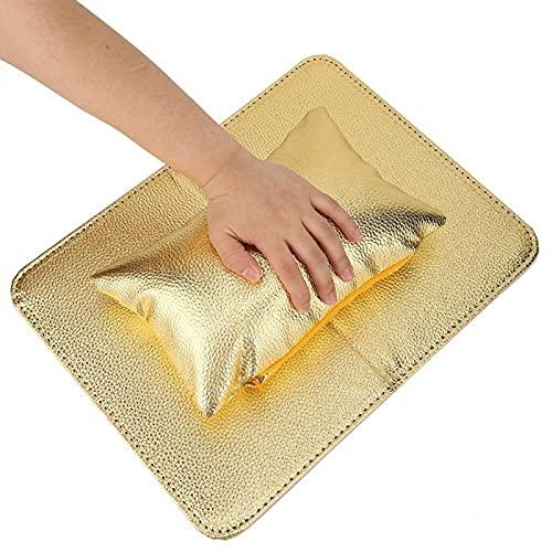 Uxsiya Almohadilla para Reposo de Manos para uñas Alfombrilla de Mesa de manicura Plegable Cojín de Mano para decoración de uñas para Escuela de Arte de uñas para Clientes para(Golden)
