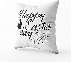 Ruthxiaoliang Fuente de Etiqueta de Feliz día de Pascua de Arte con Pincel Insignias de día de Pascua Icondecorative Square Throw Pillow Covers