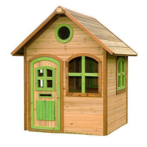 Beauty.Scouts Holzspielhaus Salve 120x118x175cm aus Zedernholz in braun Kinder Spielhaus Kinderspielhaus Gartenhaus mit Fenster Tür Holzhaus Liebe zum Detail