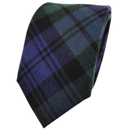 ohne Markenname Designer Wollkrawatte blau marine grün schwarz kariert - Krawatte Wolle wool