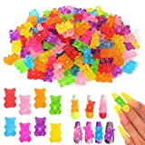 Palksky Nail Charms, 160 Pcs Gummy Bear Nail Charms for 3D Nail Art decorations Supplies, Resin Charms (8 Colors)