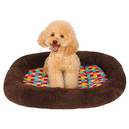 MiaoMiao Fashion Ultra-Dikke Super Zachte Huisdier Kennel Mat Leuke Hond Mat Kat Huis Kleurrijke Vierkante Huisdier Nest Huisdier Mat, BrownXS