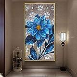 RTAGBFND Flor de peonía azul Pintura abstracta Lienzo Arte de la pared Póster Imagen botánica de lujo Entrada moderna Pasillo Decoración de la habitación del hogar-50x120cm Sin marco