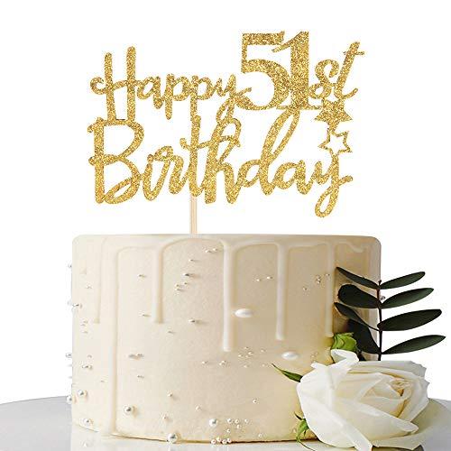 Gold Glitter Happy 51st Birthday Cake Topper - 51 Cake Topper - 51st Birthday Party Supplies - 51st Birthday Party Decorations