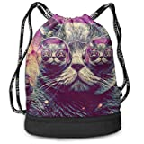 Bolsas de cuerdas,Bolsas de gimnasia,Mochilas tipo Casual, Funny Dance Gift Unisex Drawstring Fashion Beam Backpack Cat 3D Digital Print Backpack Travel Gym Tote Cosmetic Bag