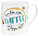 GRUSS & CO Die Geschenkewelt 45399 XL Spruch Vor dem ersten Kaffee Klappe halten, Porzellan, in Geschenk-Verpackung, Tasse in Geschenkverpackung, 60 cl, Mehrfarbig, 9.5 cm