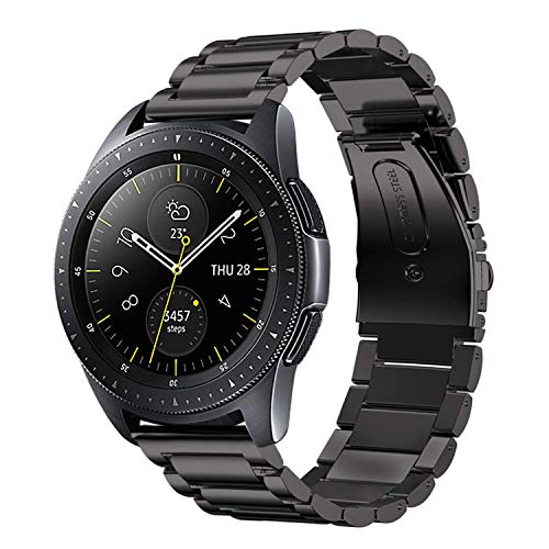 iBazal 20mm Armband Metall Stahl Metallarmband Uhrenarmband Ersatz für Samsung Galaxy 42mm SM-R810/Active 40mm/Huawei Watch 2/Gear S2 Classic/Gear Sport/TICWATCH 2/Vivoactive 3/Vivomove HR - Schwarz