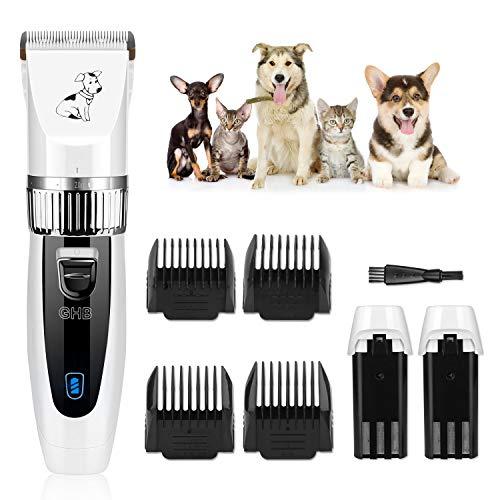 GHB Kit Tosatrice Cani Tosatore per Cani Tagliacapelli Animali Clipper Ricaricabile con 4 Pettine per Cane Gatto Pet ECC Bianco