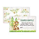 50 Deluxe Bear Woodland Animal Diaper Raffle Tickets for Baby Shower, Diaper Request Insert Card Game, Gender Neutral for Boys, Girls and Twins -  Pink Pixie Studio