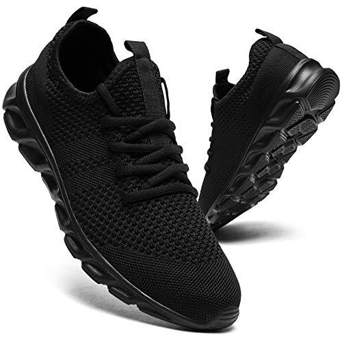 Zapatillas de correr para hombre, para caminar, tenis, deporte, de peso ligero, gimnasio, fitness, correr, casual, zapatillas de deporte para hombres, color Negro, talla 42 1/3 EU