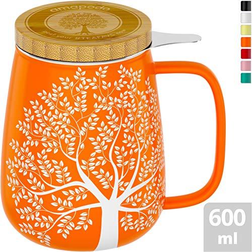 amapodo Teetasse mit Deckel und Sieb 600ml Porzellan Tasse groß, XXL Tassen Set Orange plastikfrei