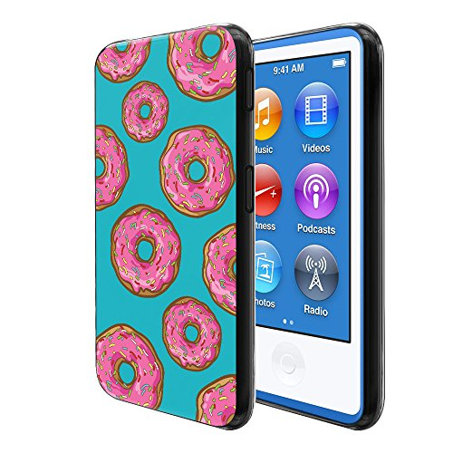 FINCIBO Case Compatible with Apple iPod Nano 7 (7th Generation), Flexible TPU Black Soft Gel Skin Protector Cover Case for iPod Nano 7 - Pink Glazed Sprinkle Donuts