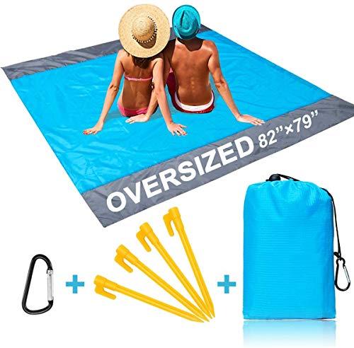 ZealousDream Alfombras de Playa, Toalla Playa Gigante 200 x 200, Manta Picnic Anti-Arena Impermeable con 4 Estaca Fijo para la Playa, Acampar, Picnic y Otra Actividad al Aire Libre (Azul + Gris)