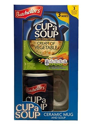 Batchelors Tazza in ceramica con 3 bustine di zuppa di verdure in confezione regalo