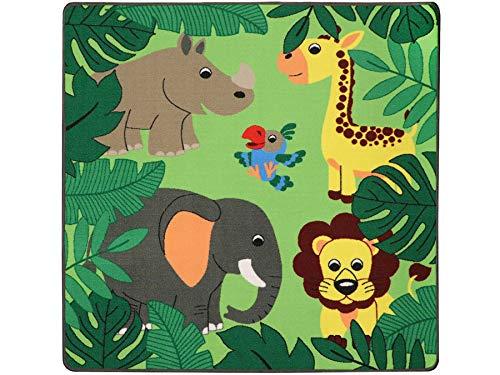 Kinderteppich mit Tieren - JUNGLE, 133x133 cm, Pflegeleicht, Fußbodenheizung Geeignet, Spielmatte, Spiel- und Lernteppich für Jungen und Mädchen