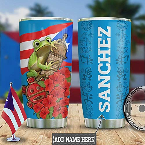 Personalized Puerto Rico Frog Tumbler Cup Gifts For Frog Lovers Birthday Christmas Thanksgiving Mother's Day Gifts For Mom Birthday Gifts ,Mom Gifts 20 Oz Tumbler