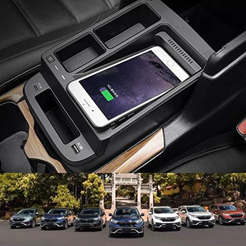 AWYLL Cargador De Coche Inalámbrico para Honda CRV 2017 2018 2019 2020 2021, Almohadilla De Cargador De Teléfono De Carga Rápida de 15 W con USB QC3.0 para iPhone 12 Pro MAX Mini 11 / XS MAX/XR / 8