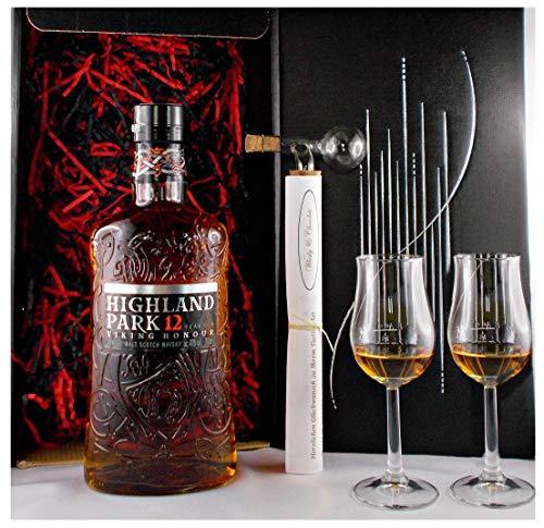 Geschenk Highland Park 12 Jahre Whisky + Glaskugelportionierer + 2 Bugatti Gläser