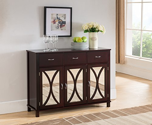 Kings Brand Rutheron Buffet Server Cabinet / Console Table, Mirrored Doors, Espresso