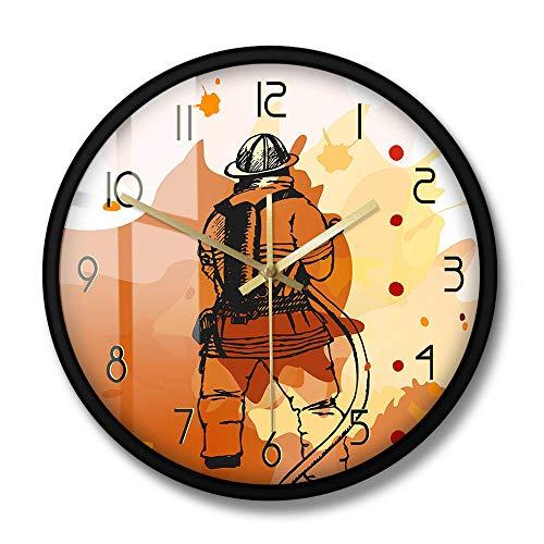 Bombero Reloj de Pared Redondo Impreso Reloj de Pared silencioso Signo del Departamento de Bomberos Hombre Cueva Decoración de Pared Idea de Regalo para Bomberos Primeros respondedores