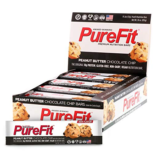 PureFit Protein Bar - All-Natural, Gluten-Free, Non-GMO, Vegan Protein Bars - Meal Replacement Bar - Peanut Butter Chocolate Chip Bar, 2oz (Pack of 15)