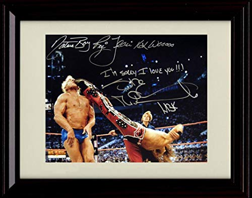 Framed RIC Flair and Shawn Michaels Autograph Replica Print - Retirement