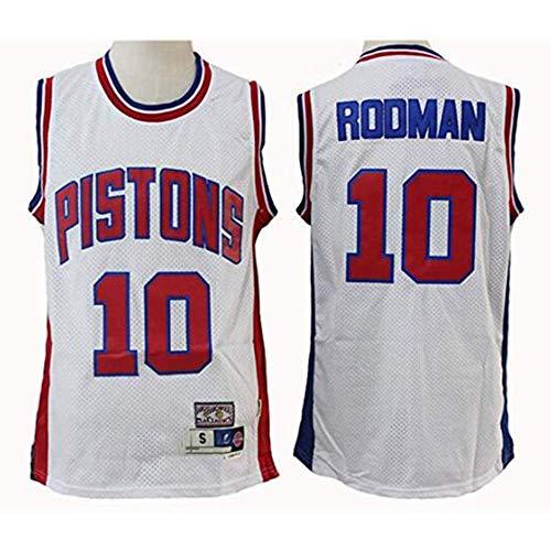 YB-DB Hombres Camiseta de pistones # 10 Rodman Azul/Blanco Retro, Transpirable de Tela, Fan de Baloncesto Unisex (S - 2XL),L (175~180cm)