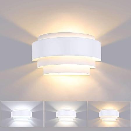 Lightess 12W Applique Murale Intérieur LED 3 Températures de Couleur Lampe Moderne en Métal Éclairage Mural Pour Chambre Escalier Boutique Salon Bureau Porche Blanc Chaud/Froid/Neutre(avec ampoule)