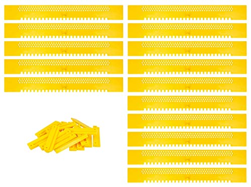 Lantelme Fluglochschieber 15 Stück Bienen Fluglochverkleinerer und Scharniere im Set Imker Imkereibedarf Bienenflucht Kunststoff gelb 6896