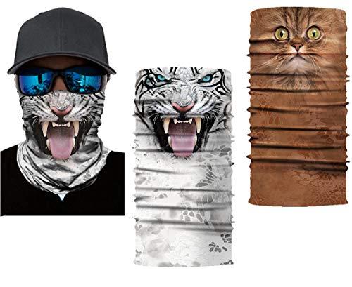 Keleily Bandana Kopftuch Halstuch Schwarz 2 Stück Bandana Gesichtsmaske Bandana Schlauchtuch Halstuch Herren Totenkopf zum Angeln, Radfahren, Yoga, Reiten, Klettern, Tiger, Katze