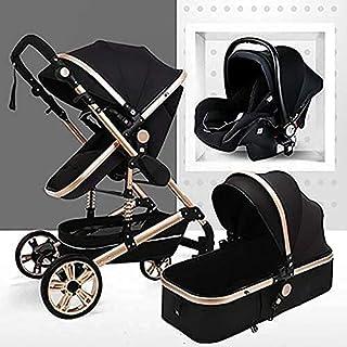 Barnvagn 3 i 1 uppsättning, Barnvagn, Buggy, hopfällbar, med bilbarnstol, Barnsäng, Barnvagn, Tillbehör, Regnskydd, Fotmuf...