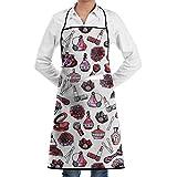dfhfdsh Schürze Kochschürze Makeup Watercolor Pink Nail Polishes Grill Aprons Kitchen Chef Bib Professional for BBQ Baking Cooking for Men Women Pockets