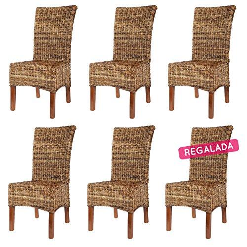 Rotin Design 6 sillas de Ratan Elips Marrones, Modernas y Baratas para Comedor