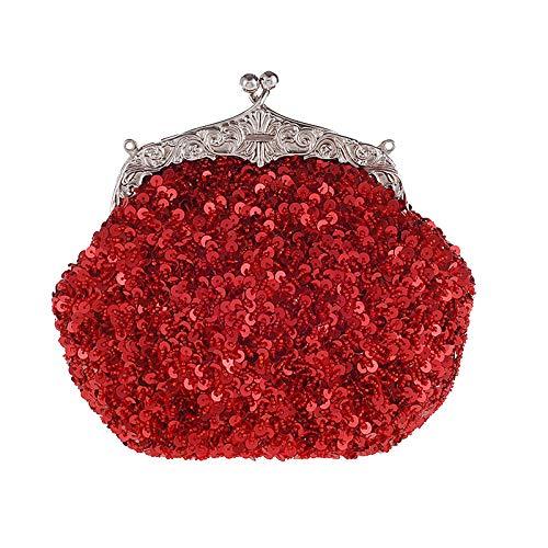 HG&& Damen Clutch Handtasche Kette Dinner Bag Kleid Abendtasche Perle Diamant Glitzer Bag Elegante Kettentasche Shiny Strass Braut Hochzeit Party Portemonnaie Umhängetasche,Rot