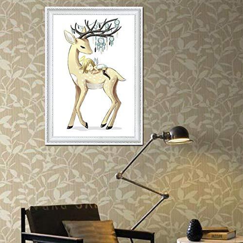 Engeltje hertje,DIY 5D Diamond schilderij, Crystal Rhinestone borduurwerk foto's Arts Craft voor Home Wall Decor, volledige boor Cross Stitch Kit