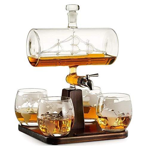 Forma 5pcs Set Antico Creativo della Barca Decanter Vino Rosso Bicchiere di Whisky Decanter 1 Staffa 1 Decanter 4 Coppa Combinazione Set (Color : 5pcs Set)