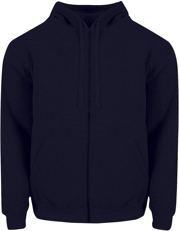 Fitscloth Full Zip Hoodie Jacket - 80/20 Cotton Blend Fleece Midweight Long Sleeve Hooded Zipper Sweatshirt Casual Sweater FHZ03 Navy 3XL