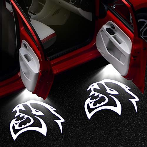 2-4 Pcs Hellcat Logo Door Light for Dodge Challenger SRT Scat Pack Demon Charger Badge Shadow Projector Welcome Lamp Car Tuning Car Door Light (Color : 2 Pieces, Emitting Color : Hellcat Logo)