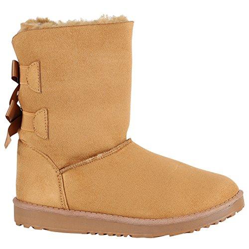 Damen Schlupfstiefel Warm Gefütterte Stiefel Schleife Schuhe 150517 Hellbraun Autol 38 Flandell