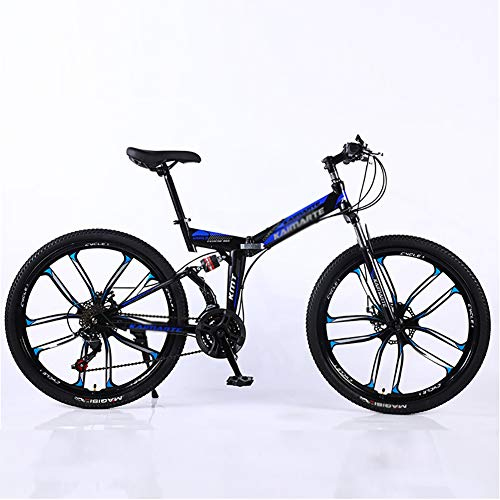 Mountain Bikes,Overdrive Aluminum Frame Trail Mountain Bike,Men Women Bicycle,24 Inch Big Wheels Hardtail Mountain Bike Black and Blue 24',27-Speed