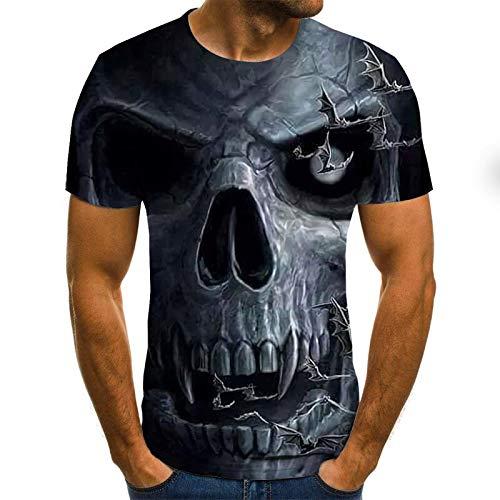 T Shirt Men Clothes Mens Summer Skull Print Men Short Sleeve T-Shirt 3D Print T Shirt Casual Breathable Funny T Shirts XXXL Txu-1743