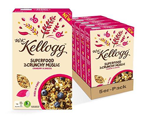 W.K KELLOGG Crunchy Müsli Superfood Cranberry & Linseeds, 5er Pack (5 x 400g)
