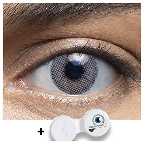 Sehr stark deckende und natürliche graue Kontaktlinsen farbig MUSCAT LIGHTGREY + Behälter von LENSART - 1 Paar (2 Stück) - DIA 14.00 - ohne Stärke 0.00 Dioptrien